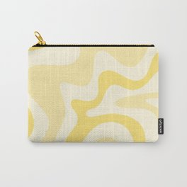 Retro Liquid Swirl Abstract Square in Soft Pale Pastel Yellow Carry-All Pouch