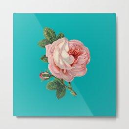 Pink Flower on Teal Metal Print
