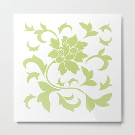 Oriental Flower - Daiquiri Green On White Background Metal Print