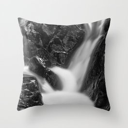 Shelving Rock Stream - Black & White Throw Pillow