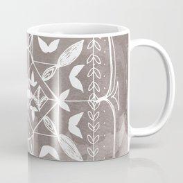 Square Mandala Butterfly Floral Rustic Line Drawing Boho Spirituality Yoga Focus Divine Meditation Coffee Mug