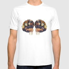 Double deer White SMALL Mens Fitted Tee