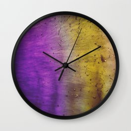 Purple and Yellow Frozen in Time Wall Clock