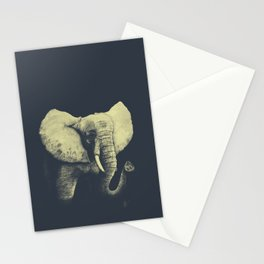 Elephant Drawing (Blue & Yellow) Stationery Cards