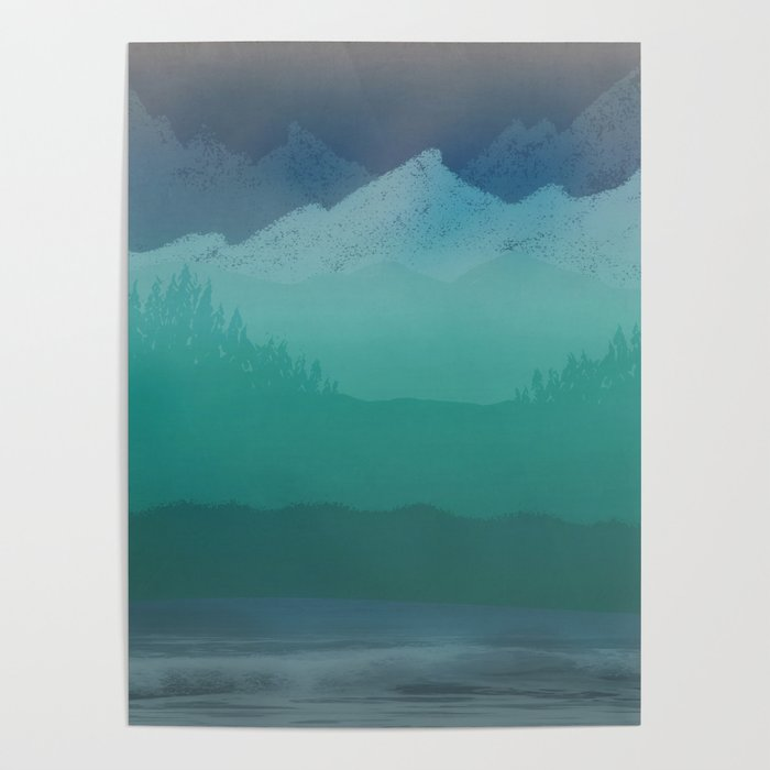Ombre Mountainscape (Blue, Aqua) Poster
