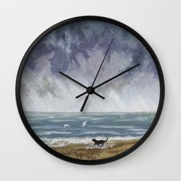 Doggy Days at the Seaside Wall Clock
