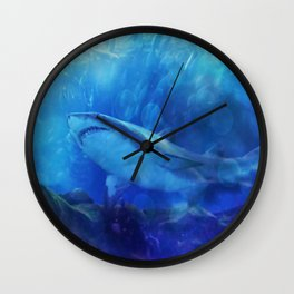 Make Way for the Great White Shark King  Wall Clock