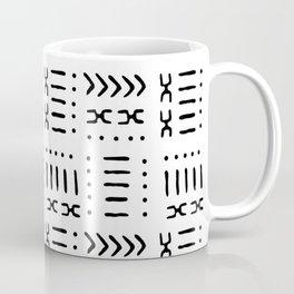 White Black Mud Cloth Pattern Coffee Mug