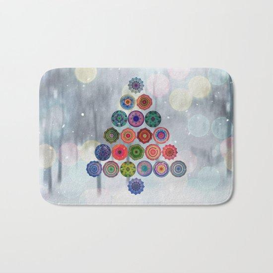 Abstract Christmas Tree Bath Mat