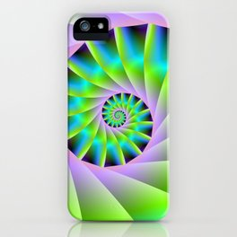 Turquoise Lilac and Green Spiral iPhone Case