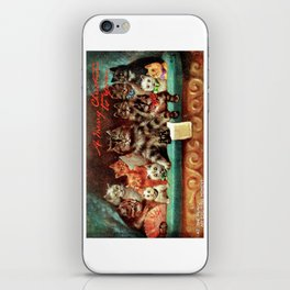 A Merry Christmas Greeting of Humanized Cats at the Opera by artist Louis Wain iPhone Skin