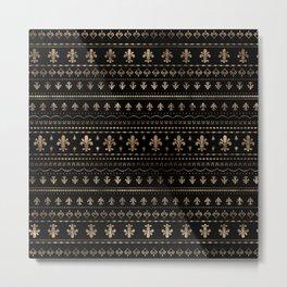 Fleur-de-lis pattern black and gold Metal Print
