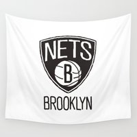 nba Wall Tapestries featuring Brushed NBA Team Logos - Nets by Katadd