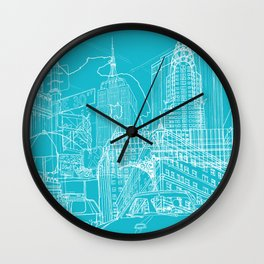 New York! Blueprint Wall Clock