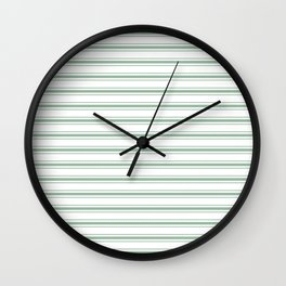 Mattress Ticking Wide Horizontal Striped Pattern in Moss Green and White Wall Clock
