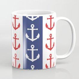 Nautical Sailor Stripes with Anchor Pattern Blue and Red 241 Coffee Mug