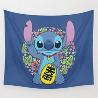 stitch Wall Tapestries featuring Maneki Stitch by Akiwa