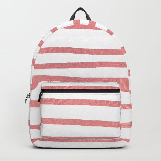 Simply Drawn Stripes Warm Rose Gold on White Backpack