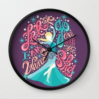 risa rodil Wall Clocks featuring Snow Queen by Risa Rodil