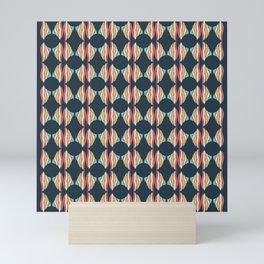 Oval and Diamond Sillouette Pattern Mini Art Print