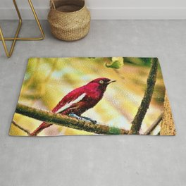 Red Pompadour Cotinga Portrait Painting by Jeanpaul Ferro Rug