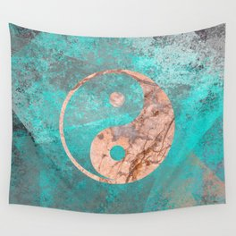 Yin Yang - Rose Turquoise Marble Wall Tapestry