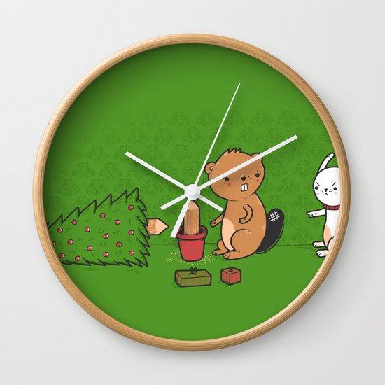 Beavers ruin Christmas Wall Clock