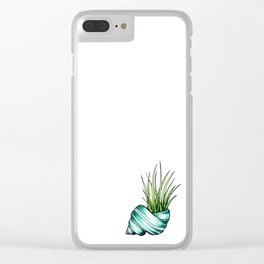 Teal Shell and Plant Clear iPhone Case