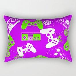 Video Games green on purple Rectangular Pillow