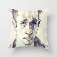 kerouac Throw Pillows featuring Jack Kerouac by Germania Marquez
