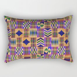 Kente Cloth // Anzac Yellow & Persian Blue Rectangular Pillow