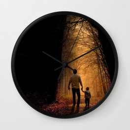 Father and Son in the Woods Wall Clock