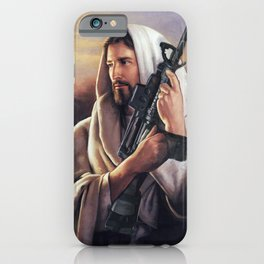 Assault Rifle Jesus Christ Messiah - Who WOuld Jesus Shoot iPhone Case