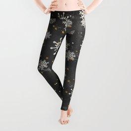 Boho Black Snowflakes Leggings