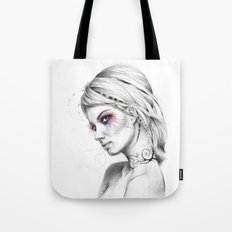 Beautiful Girl with Tattoos and Colorful Eyes Tote Bag