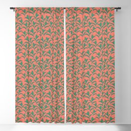 Paradise Palm Leafs Plant Mum - Coral Blackout Curtain