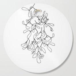 Modern Mistletoe - black and white line drawing Cutting Board