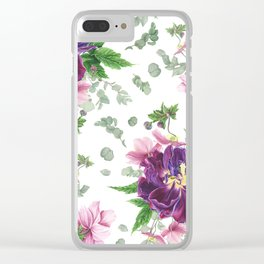 Purple tulips, anemones and eucalyptus Clear iPhone Case