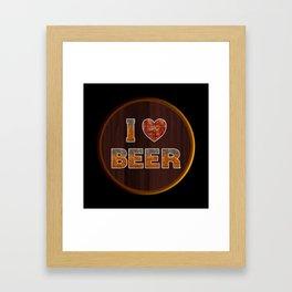 I Love Beer Keg Framed Art Print