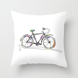 Colorful Bicycle Line Art Throw Pillow