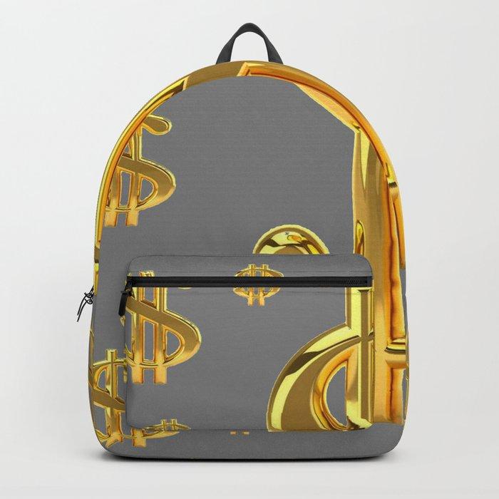 Golden Money Dollars Charcoal Grey Pattern Modern Art Backpack By Sharlesart