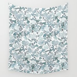 Summer Posies Floral - Blue Wall Tapestry