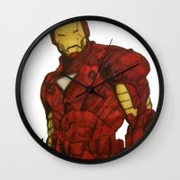 iron man Wall Clocks featuring Iron Man by DeMoose_Art