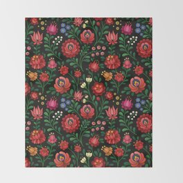 Hungarian flowers Throw Blanket