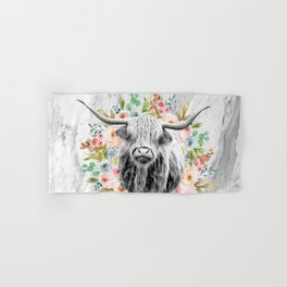 Highland Cow With Flowers on Marble Black and White Hand & Bath Towel