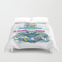 philosophy Duvet Covers featuring Philosophy is not a junk food by Ruta13