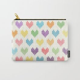 Colorful Knitted Hearts II Carry-All Pouch