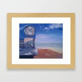 Cuban Car on beach painting Framed Art Print