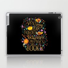Folded Between the Pages of Books - Floral Black Laptop & iPad Skin
