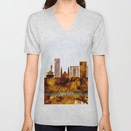 Cebu City Philippines Skyline Unisex V-Neck